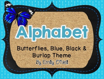 Alphabet (Butterfly, Blue, Black & Burlap Theme)