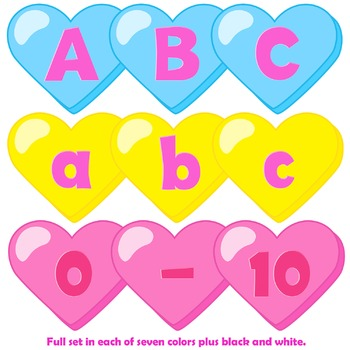Candy Heart Alphabet Letters Clip Art | Conversation Hearts
