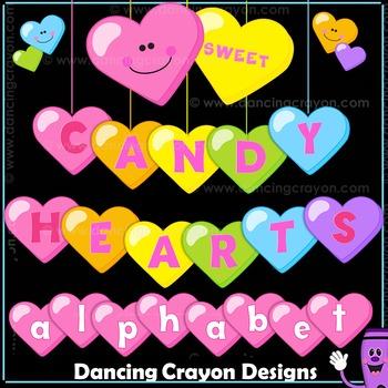 Candy Heart Alphabet Letters Clip Art | Conversation Hearts