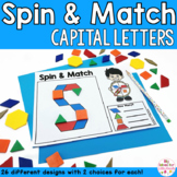 Alphabet Capital Letters Pattern Blocks Mat Spin and Match Game