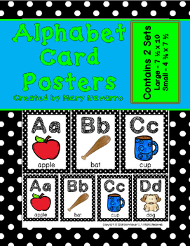 Alphabet Card Posters Black and White Polka Dot