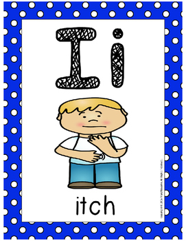 Alphabet Card Posters Blue and White Polka Dot