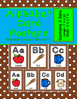 Alphabet Card Posters Brown and White Polka Dot