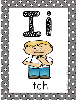 Alphabet Card Posters Gray and White Polka Dot