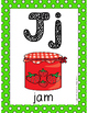 Alphabet Card Posters Green and White Polka Dot