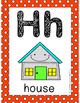 Alphabet Card Posters Orange and White Polka Dot