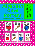 Alphabet Card Posters Pink and White Polka Dot