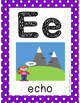 Alphabet Card Posters Purple and White Polka Dot