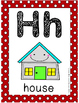 Alphabet Card Posters Red and White Polka Dot