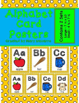 Alphabet Card Posters Yellow and White Polka Dot