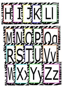 Alphabet Card Upper and Lower case Zebra Pattern