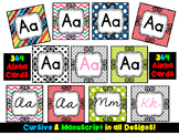 Alphabet Cards {364 Cards} Manuscript and Cursive! SEVEN designs.
