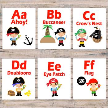 Alphabet Cards - Alphabet flash cards - Pre-k and Kindergarten - Pirate Theme