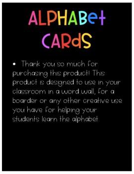 Alphabet Cards- Black Background