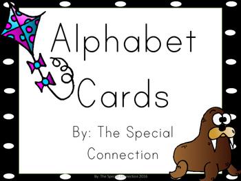 Alphabet Cards : Black & White Polka Dot