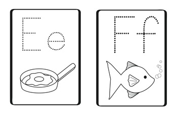 Alphabet Cards - Black and white outlines