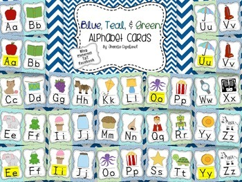 Alphabet Cards {Blue, Teal, & Green}