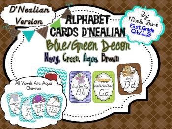 Alphabet Cards Blue/Green Decor D'Nealian Version