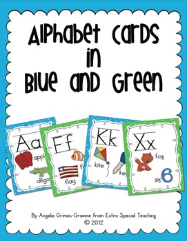 Alphabet Cards  - Bright Blue and Green