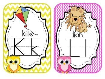 Alphabet Cards Bright Owls Chevron