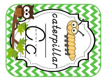 Alphabet Cards Brown Owl Cheveron (Blue, Green, Brown, Aqua) D'NEALIAN