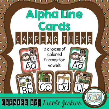 Alphabet Cards Camping Theme (Dots on Chocolate)