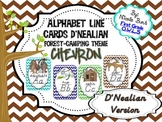 Alphabet Cards Camping/Forest Theme D'Nealian