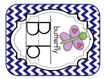 Alphabet Cards Chevron (Blue, Green, Aqua, Brown)