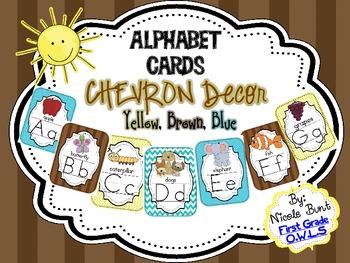 Alphabet Cards Chevron (Blue, Yellow, Brown)