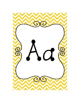 Alphabet Cards {Chevron & Dots} Yellows, Grays, and Greens!