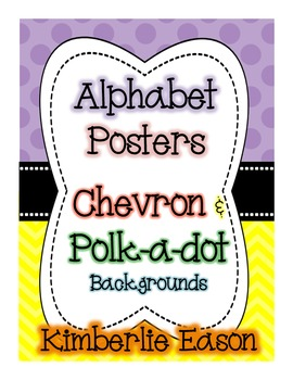 Alphabet Cards - Chevron and Polk-a-Dot Background