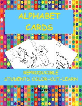 Alphabet Flash Cards to Color-Cut-Learn  ABC Flash Cards Blackline Masters