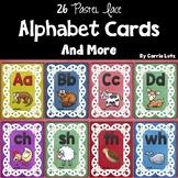 Alphabet Cards Colorful Pastel Lace Design