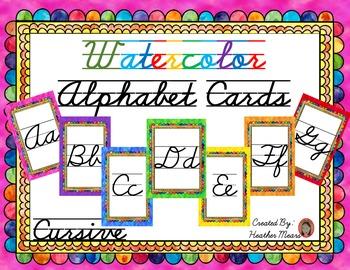 Alphabet Cards Cursive Watercolor