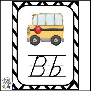 Alphabet Cards (D'Nealian)  Black and White Geometric Pattern Theme