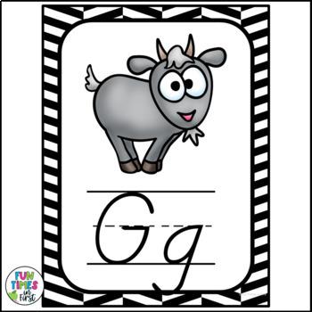 Alphabet Posters | Black & White Classroom Decor | D'Nealian Style
