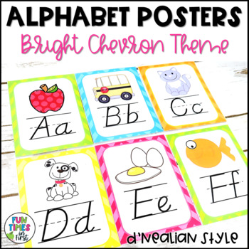 Alphabet Cards (D'Nealian) Bright Chevron Theme