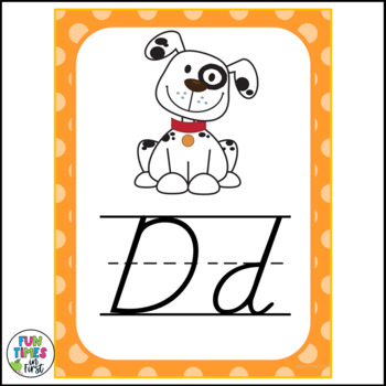 Alphabet Cards (D'Nealian) Bright Polka Dot Theme