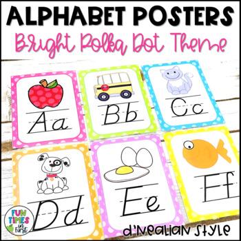 Alphabet Cards (D'Nealian) Bright Polka Dot Theme