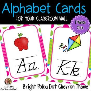 Alphabet Cards (D'Nealian) Bright Polka Dot and Chevron Theme