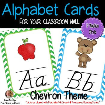 Alphabet Cards (D'Nealian) Chevron (Macmillan/McGraw-Hill Treasures)