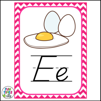 Alphabet Cards (D'Nealian) Chevron Theme