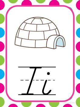 Alphabet Posters (D'Nealian Style) Mulit-Polka Dot Theme