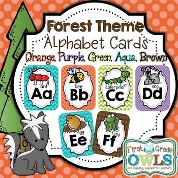 Alphabet Cards Forest Theme (Orange, Purple, Blue, Green, Brown)