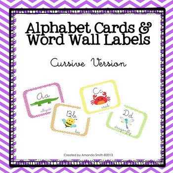 Alphabet Cards & Word Wall Labels: Manuscript Line