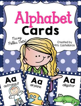 Alphabet Cards-Navy Polka Dots
