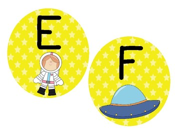 Alphabet Cards: Outerspace Themed