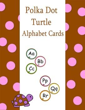 Alphabet Word Wall Cards Polka Dot Turtle Theme