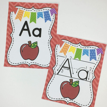 Alphabet Cards Primary Print- Chevron Theme