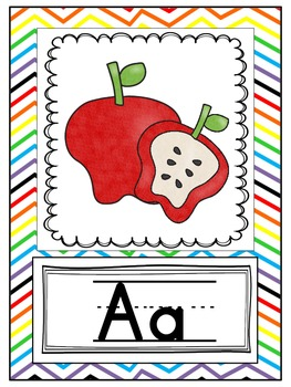Alphabet Cards - Purple Chevron
